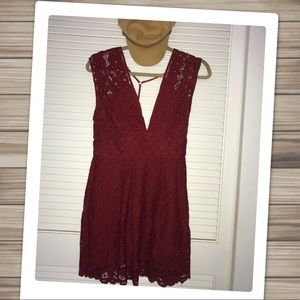 Free People Red Crochet Sleeveless Mini Dress